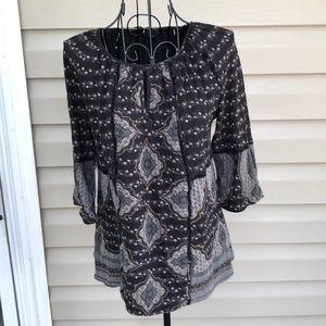 Lucky Brand women's black gray& tan blouse